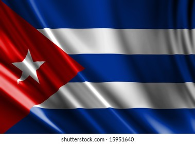 Cuban flag waving in the wind
