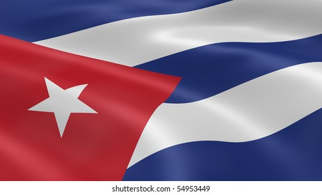 Cuban flag in the wind. Part of a series.