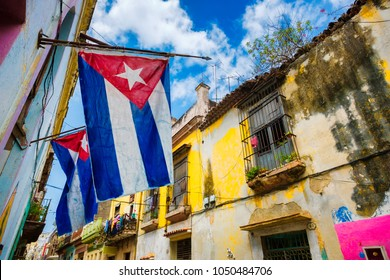 Cuban flags in Old Havana