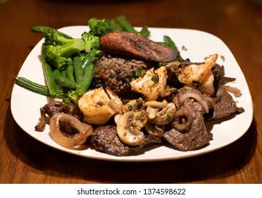 Cuban Food Dinner Plate - Surf and Turf - Steak Shrimp Maduro Onion Mushroom Rice Beans Peas Broccoli