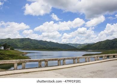 Cuban Lake with a Dam on a Beautiful Day