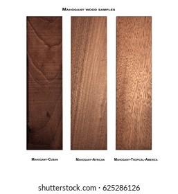 Cuban Mahogany, African Mahogany and Mahogany-Tropical America wood samples