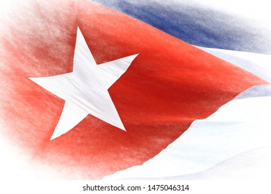 Cuban National Flag, close up. Creative effect applied to the vibrant color symbol