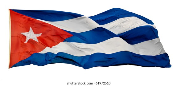 The Cuban National Flag isolated on white with clipping path