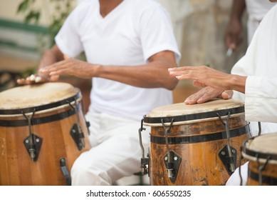 Cuban Performers Playing Bongo Drums at Afro-Cuban Museum in Havana, Cuba