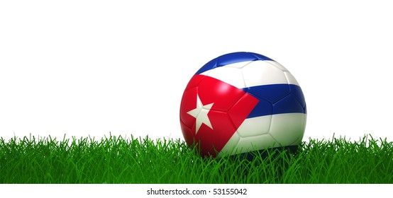 Cuban soccer-ball lying in grass