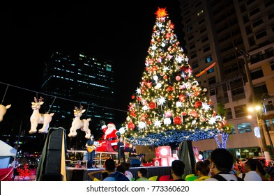 Cubao, Quezon City, Philippines - December 6, 2017:  Tall/giant Christmas Tree decoration with a red star