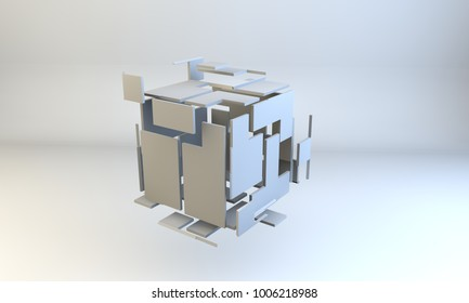 cube 3d cgi illustration for teamwork or thinking outside of the box