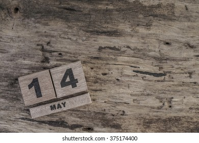 cube calendar for may on wood with copy space