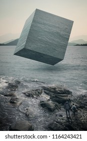 Cube contain water resource surreal background