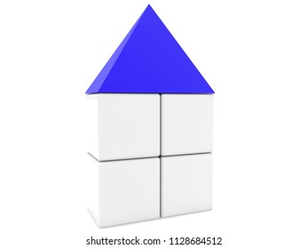 Cube house with blue roof.3d illustration