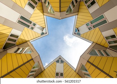 Cube houses in Rotterdam; Netherlands. They represents a village where each house is a tree.