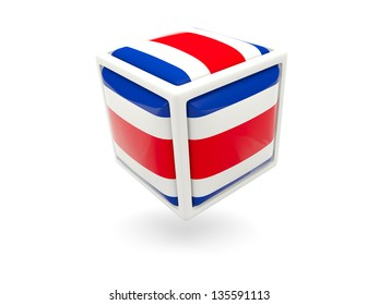 Cube icon of flag of costa rica isolated on white