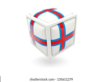 Cube icon of flag of faroe islands isolated on white