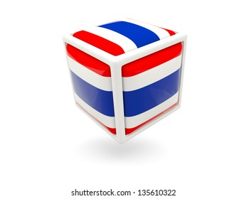 Cube icon of flag of thailand isolated on white