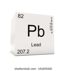 cube of lead element of the periodic table isolated on white background - Periodic Table Symbol Pb