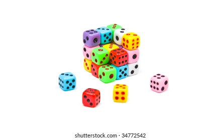 Cube made of colorful dices, isolated on white