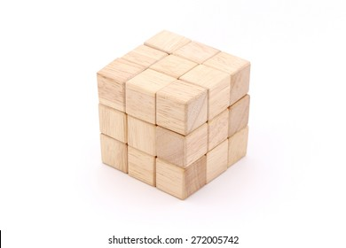 Cube puzzle wooden blocks isolated on white background