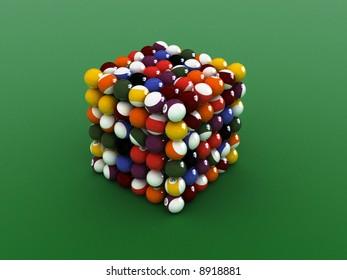 cube shaped  pool balls. close up billiard balls.