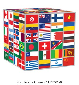 cube with some of world flags over white
