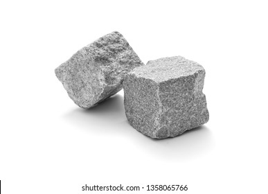 Cube stone, cobblestone pavement isolated on white. Studio close up shot.