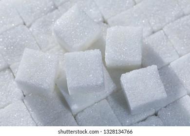 cube sugar heap close-up