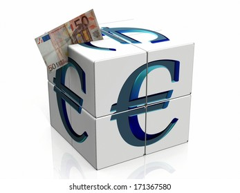 a cube with the symbol euro