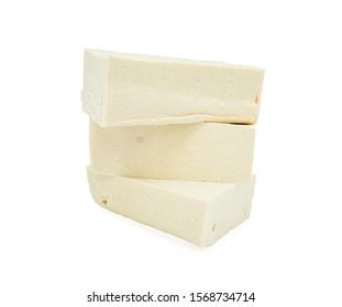 cube tofu isolated on white background.