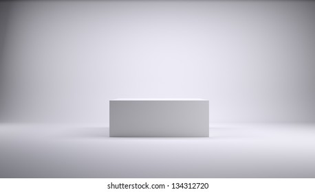Cube in a white photo studio. 3d Render
