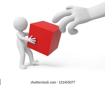 CubeA 3d people holding a red cube/ a 3d hand