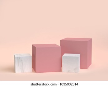 cube-box pink marble set minimal cream background 3d rendering