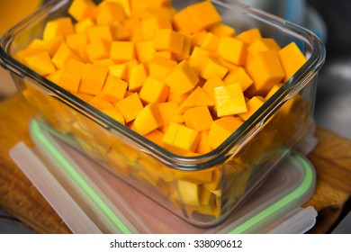 Cubed Butternut Squash in Glass Storage Container