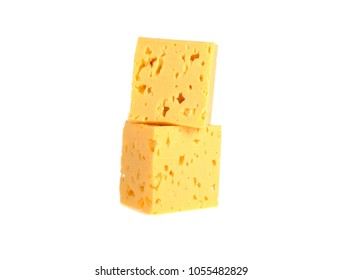 cubes of cheese on a white background