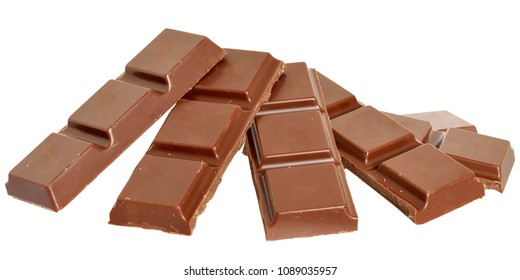 Cubes of chocolate isolated on a white background.
