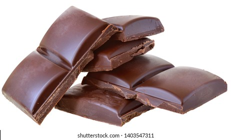 Cubes of chocolate tower isolated on a white background.