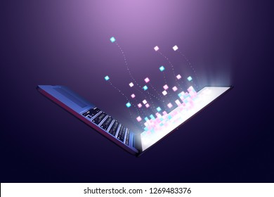 Cubes coming out from computer laptop screen