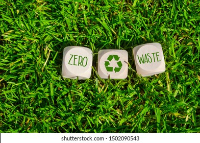 Cubes and dice in the green grass with zero waste and recycling logo