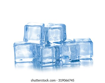 Cubes of ice on a white background