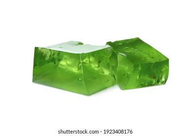 Cubes of kiwi jelly isolated on white background