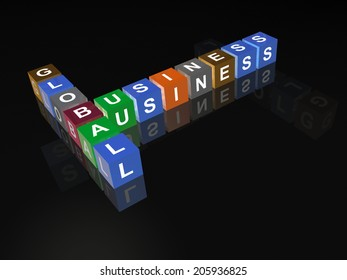 Cubes with letters on the black background.