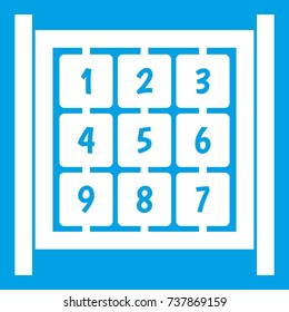 Cubes with numbers on playground icon white isolated on blue background  illustration