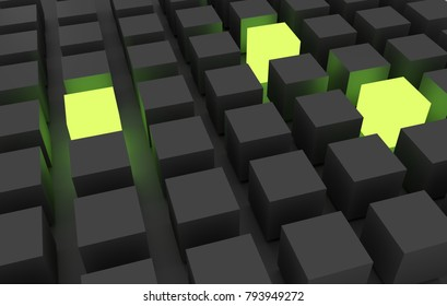 cubes standing out 3d render
