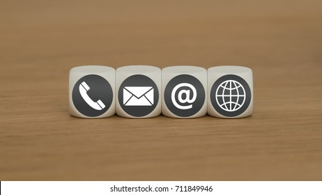 cubes with support icons for contact page
