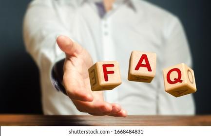 Cubes thrown by a man make word abbreviation acronym FAQ (frequently asked questions). Convenient form of answers explanations for users and customers. Instructions and rules. Avoid frequent errors.