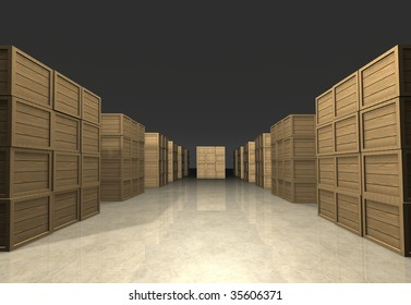 Cubic stacks of wooden boxes prepared for shipment in regular infinite rectangle array in warehouse - human eye perspective - computer generated image