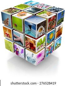 cubic structure with colorful pictures isolated on white background