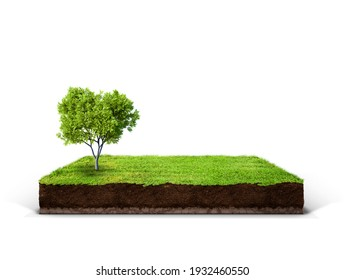 cubical cross section with underground earth soil and green grass on top, cutaway terrain surface with mud and field isolated - Shutterstock ID 1932460550