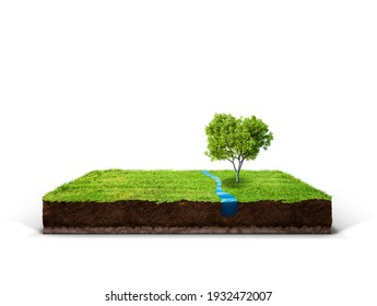 cubical cross section with underground earth soil and water and green grass on top, cutaway terrain surface with mud and field isolated