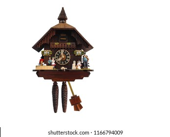 Cuckoo clock on white background and clipping path.