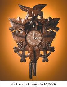 Cuckoo clock with orange background